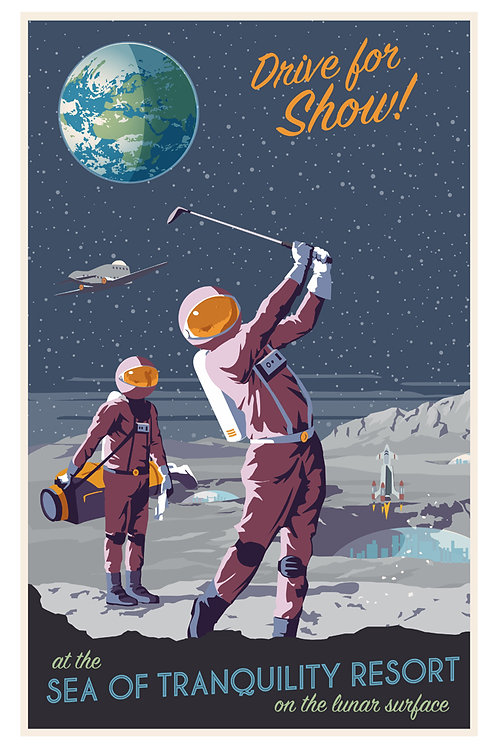 Moon Golfing Poster