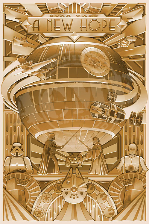 A New Hope. Star Wars in gold foil