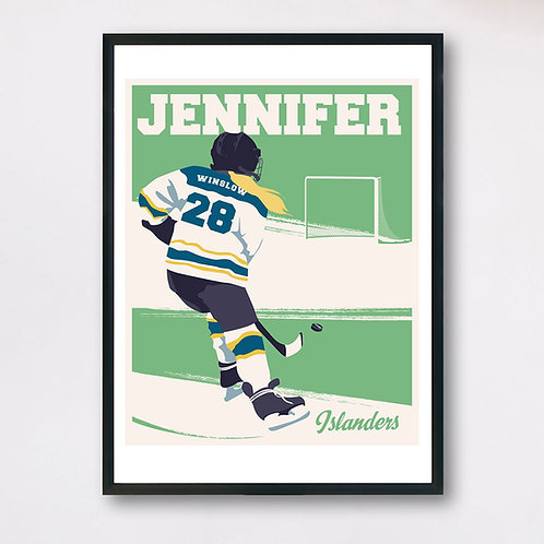 Personalized Right-Hand Hockey Player w/hair