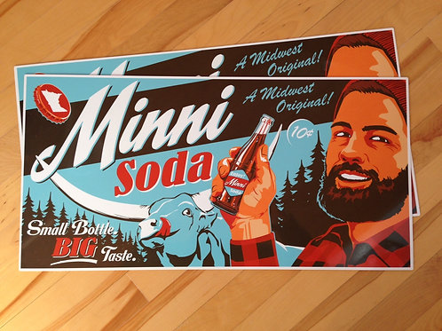 Minni Soda Paul Bunyan tin sign