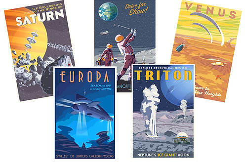 Space Travel postcard set of 5