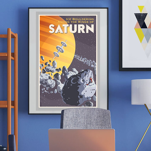 Saturn Ice Climbing Poster