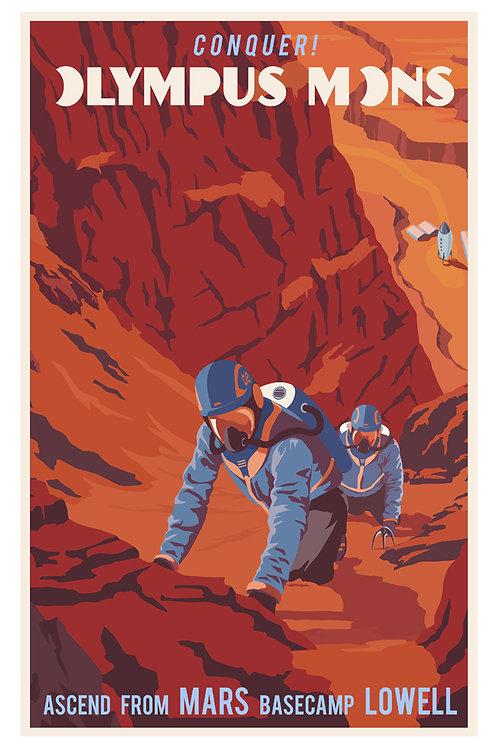 Mars Mountain Climbing Poster
