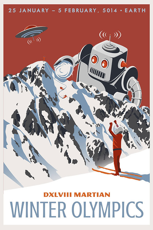 Martian Winter Olympic Travel Poster