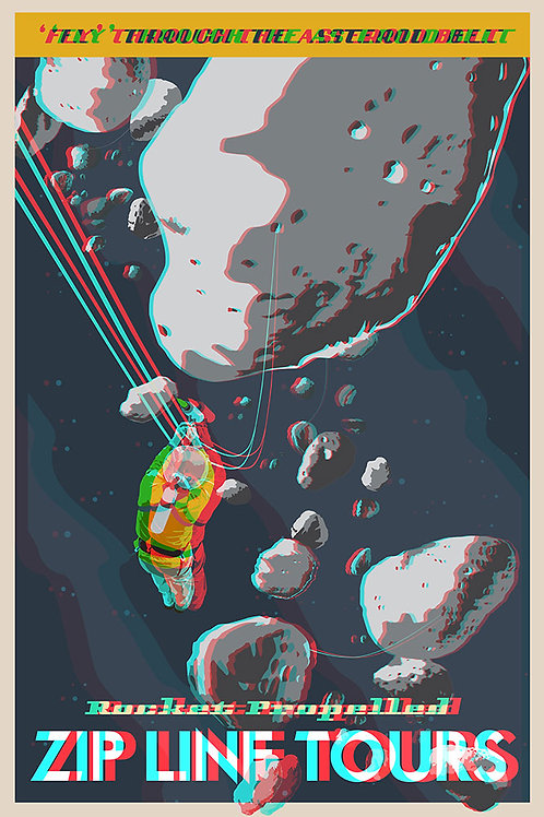 3D Space Travel: Zipline through the Asteroids