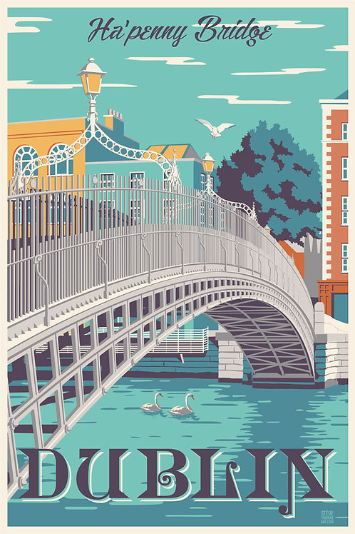 Dublin, Ireland Ha'penny Bridge travel poster