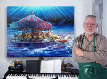 Jean-Charles Avec sa toile L'Evasion de carrousels
