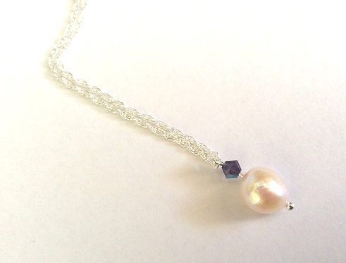 Pearl purple crystal silver necklace