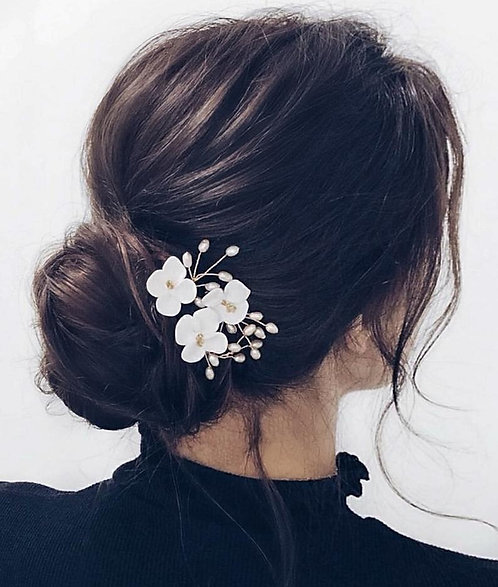 Ivory Clay Flowers Hairpin