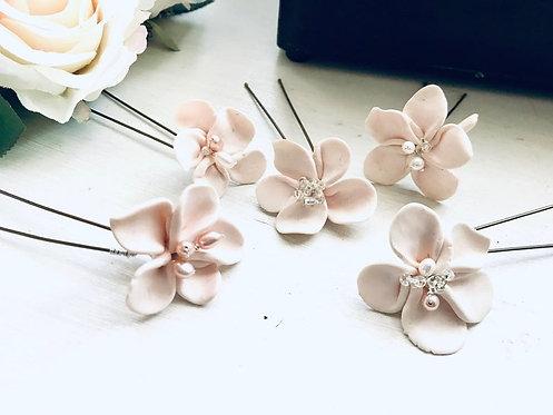 Blush Clay Flower Hairpins