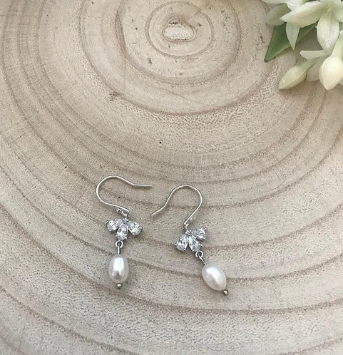 Classic crystal freshwater pearl silver earrings