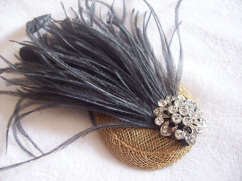 Pewter and bronze feather fascinator