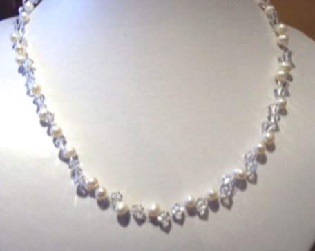 Swarovski crystal freshwater pearl necklace