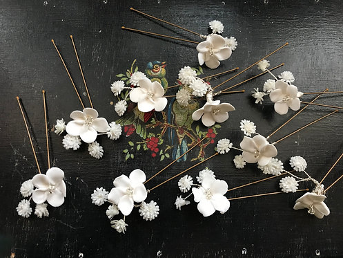 Clay & Baby's Breath Hairpins