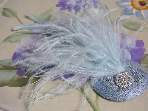 Pale blue feather fascinator