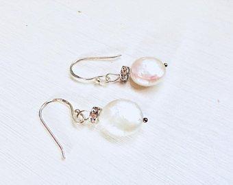 Coin Pearl Silver Earrings