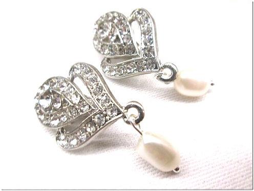 Diamante pearl drop earrings