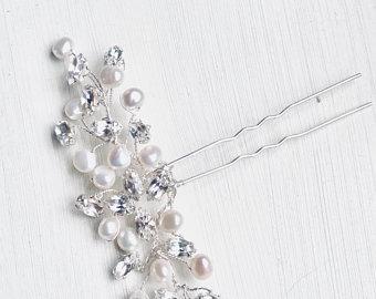 Pearl crystal hairpin