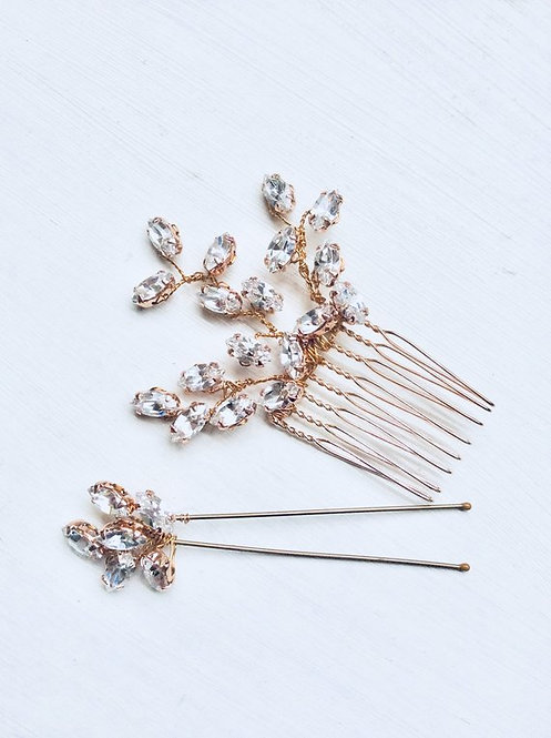 Rose gold sparkler comb & hairpin