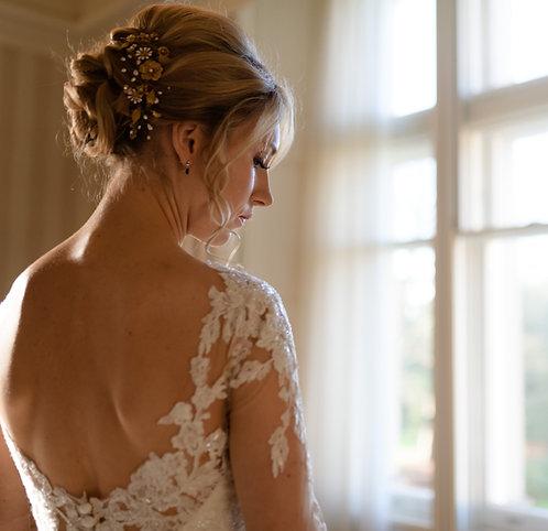 Bridal golden floral hair comb