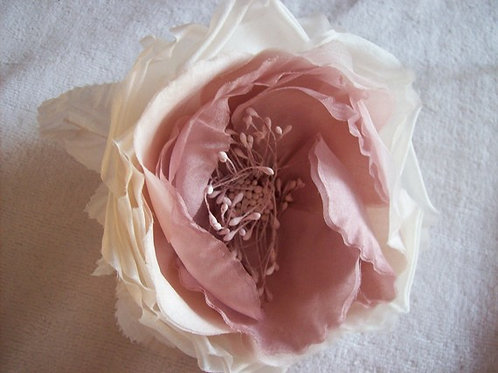 Dusky pink silk flower fascinator clip
