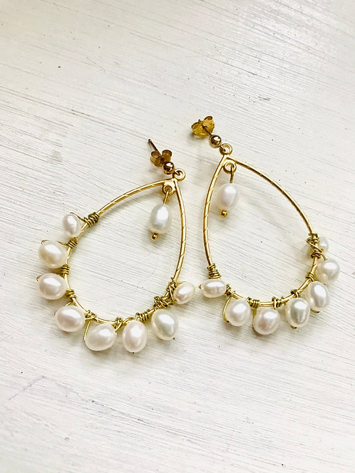 Bohemian gold pearl earrings