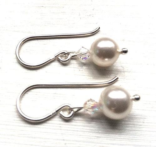 Swarovski ivory pearl crystal drop earrings