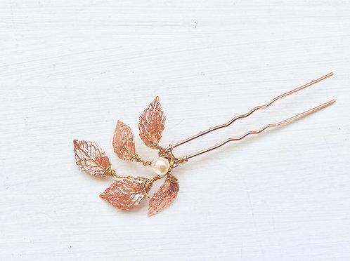 Rose gold leaf hairpin