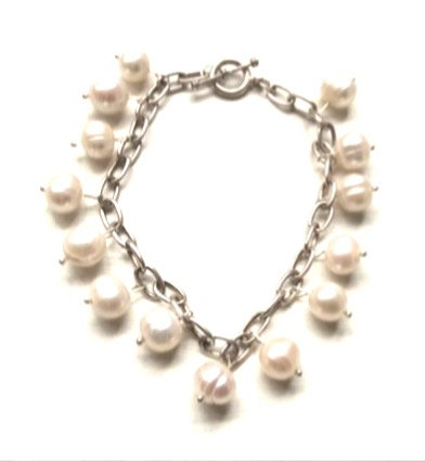 Freshwater pearl silver charm bracelet