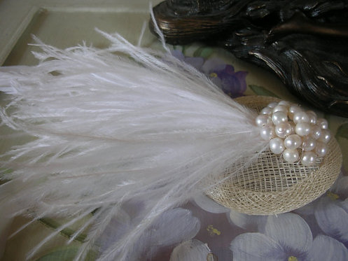 Ivory and pearl feather fascinator