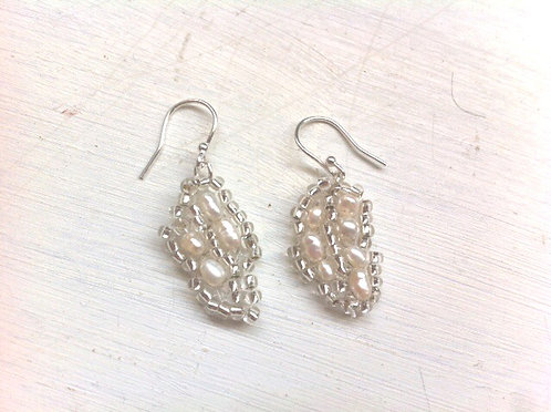 Embroidered lace leaf earrings