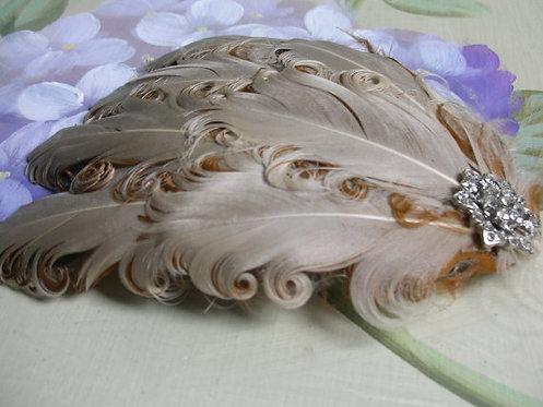 Beige feather fascinator