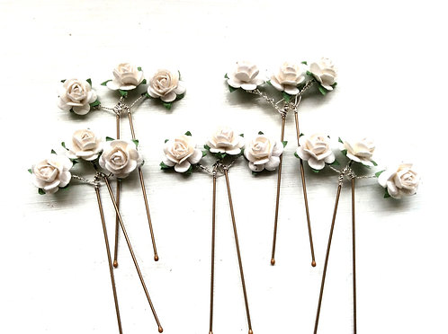 5 Ivory Rose Hairpins