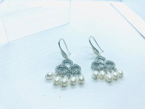 Bohemian crystal pearl earrings