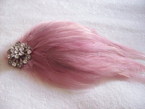 Dusky pink feathe fascinator