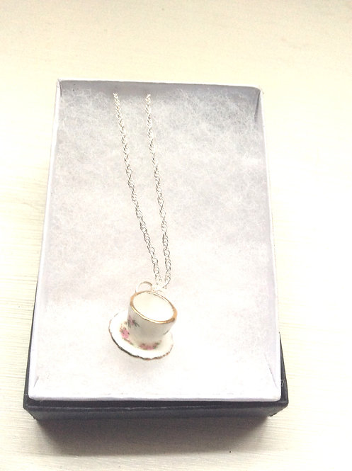 China teacup pendant silver necklace