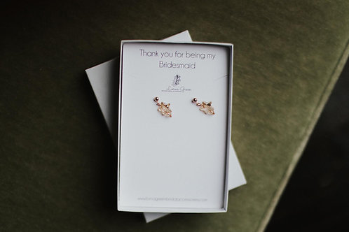 Christmas gold star bridal earrings