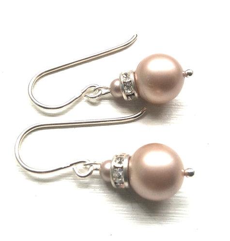 Swarovski latte pearl crystal drop earrings