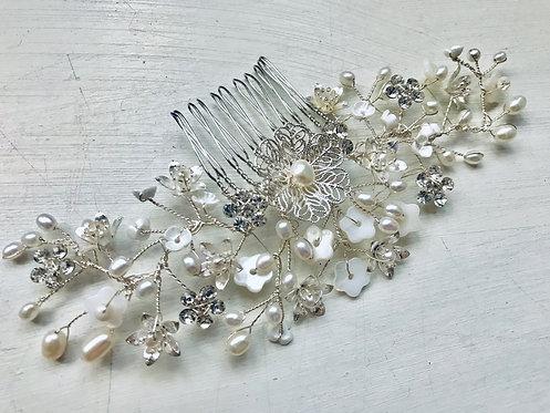 Silver Floral comb