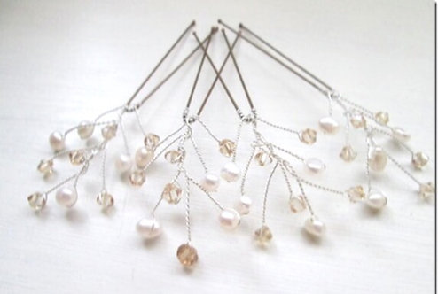 4 golden crystal/ivory pearl hairpins