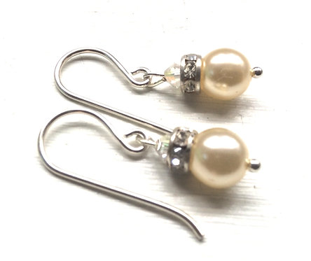Swarovski cream pearl crystal drop earrings