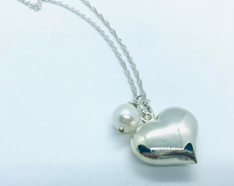 Large Heart sterling silver necklace