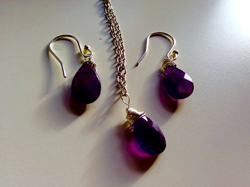 Amethyst sterling silver jewellery set