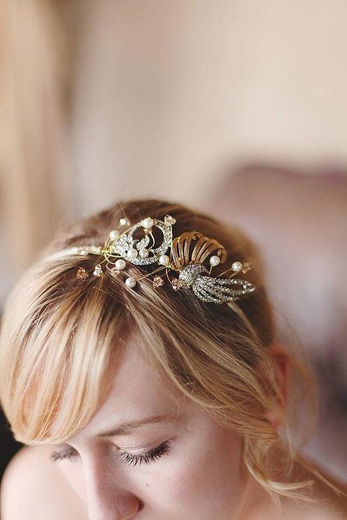 One off brooch side headdress