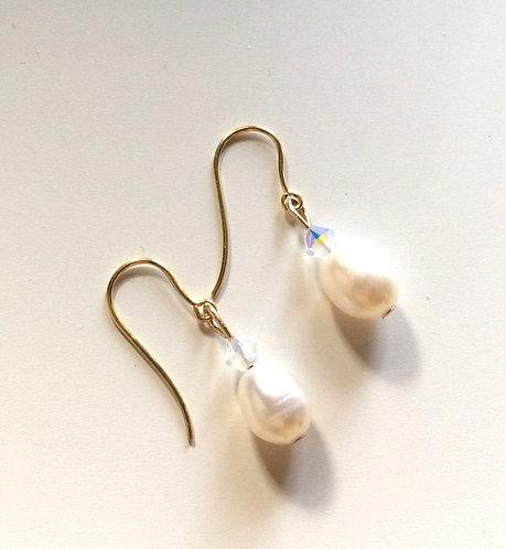 Gold vermeil freshwater pearl drop earrings