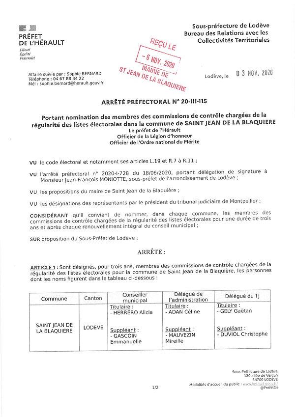 nomination de la commission de contrôle
