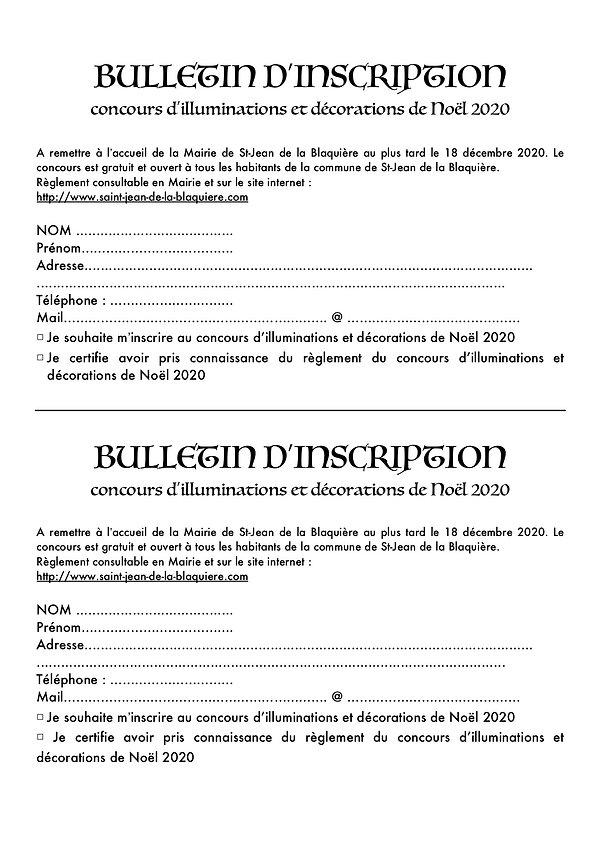 Bulletin d'inscription concours Noel 202