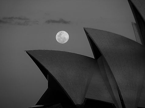Full Moon over Opera House - black and w