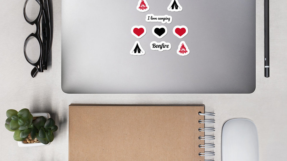 Kiss Cut Stickers - I love camping design