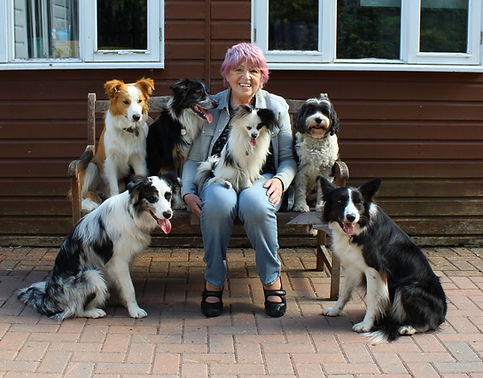Lynda with her dogs